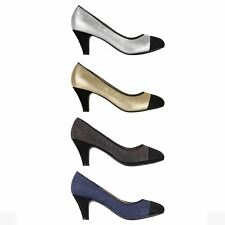 Womens Ladies Diamante Comfy Low Mid Kitten Heel Courts Pumps Shoes Work Party