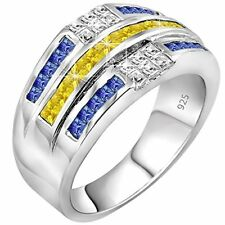 Men's .925 Sterling Silver Ring, 32 Yellow, White & Blue Baguette and Square CZ
