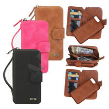 Leather Zipper Wallet Card Holder Slot Flip Phone Case For Samsung Galaxy iPhone