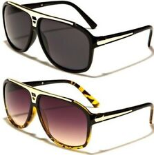 NEW BLACK SUNGLASSES LADIES MENS DESIGNER LARGE AVIATOR RETRO VINTAGE BROW BAR