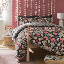 Oriental Flower Black and Red Duvet Cover and Pillowcase Bedding Set All Sizes