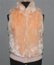 Tulle Lined Peach Plush Faux Fur Lined Zipper Vest Ribbed Waistband Jrs M NWT