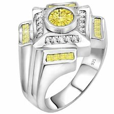Mens .925 Sterling Silver Ring 1.75 Carat White CZ Center with 36 Baguette Stone