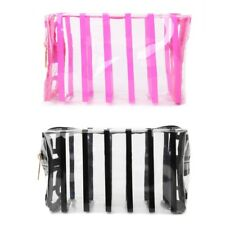 Cosmetic Bag  Clear Stripe Toiletry Transparent Travel Storage Pouch Makeup