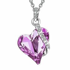 Swarovski Crystals Love Heart Pendent Silver Plated Adjustable Necklace Purple