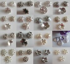 50 Cap beads Metal Spacer Silver Bead caps Jewelry making dif. Sizes
