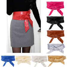 Ladies Lace Up Tie Up High Waist Waistband Wide Faux Leather Corset Belt