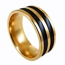 Fashion Jewelry Punk Men's Stripe Finger Band Ring Stainless Steel Ring 17-21mm