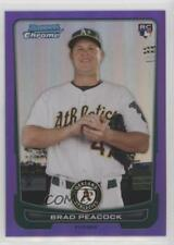 2012 Bowman Chrome Purple Refractor #21 Brad Peacock Oakland Athletics Card