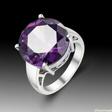 New Simple Fashion Jewelry Circular Amethyst 925 Sterling Silver Ring size 7 8 9