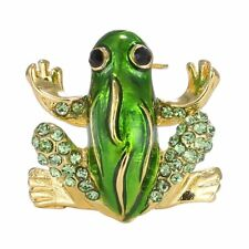 Women Fashion Crystal Rhinestone Cute Frog Brooch Pin Bouquet Party Jewelry Gift