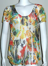 Simply Irresistible Sublimation Floral SS Top Blouse Yellow White Plus 1X 2X 3X
