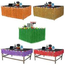 Artificial Grass Hibiscus Flower Table Skirt for Tropical Luau Beach Pool Party