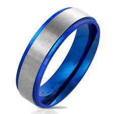 Finger Ring Made of Stainless Steel in Blue with Brushed Center VARIOUS SIZES