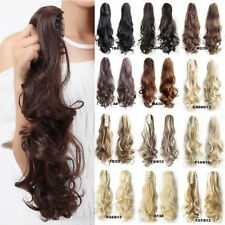 """Long Claw Clip In 17""""-26"""" Ponytail Jaw On Hair Extensions Straight Curly Wavy R7"""