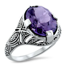6 CT COLOR CHANGING LAB ALEXANDRITE ART DECO 925 SILVER ANTIQUE STYLE RING,#1092