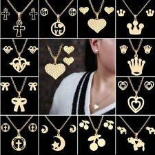 Fashion Gold Stainless Steel Moon Cross Love Heart Necklace Earrings Jewelry Set