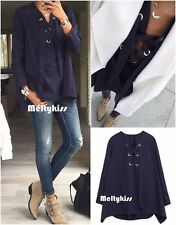 NWT ZARA NAVY BLUE TIE FRONT LOOSE BLOUSE SHIRTS Sz-XS, S, M $99.9 BLOGGERS!!