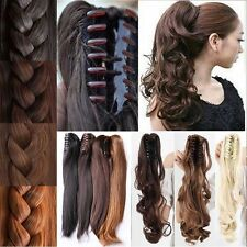 Claw on Ponytail Clip in Hair Extensions Wavy Curly Pony Tail Blonde Brown AN1