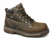 Skechers COOL CAT BULLY II Mens Oily Leather Lace Up Casual Ankle Boots Brown
