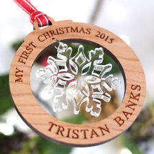 My First Christmas Decoration Wooden Snowflake Ornament, Christmas Bauble Gift