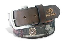 ZEP-PRO SHOTGUN SHELL MOSSY OAK Camo Leather Nylon Belt
