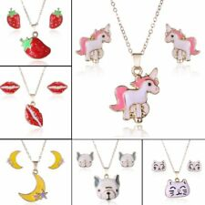 Cat Dog Horse Animal Earrings Necklace Jewelry Set Women Valentine's Day Gift