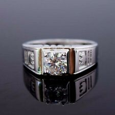 Charm 18K White Gold Filled Rings 8MM Band GF CZ Men Wedding Jewelry Size pick