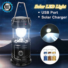 Solar Rechargeable Flashlight Power Camping LED Tent Light Torch Lantern Lamp TR