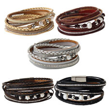 Charm Multilayer PU Leather Wrap Crystal Cuff Bracelet Bangle Women Jewelry