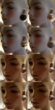 """OVERSIZED RED BLACK GOLD SILVER  METAL 2.5"""" HALF DOME BALL STUD EARRINGS NEW"""