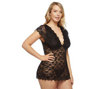 Just Sexy Plus Size Stretch Lace Baby Doll w/ G-String - Black