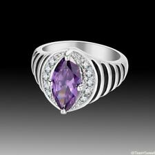 Vintage Beautiful Jewelry Amethyst 925 Sterling Silver Gemstone Ring size 7 8 9