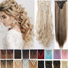 US Real 8PC 18 Clips Clip In Hair Extensions Hair Extentions as Human Hair PE8