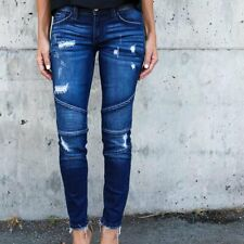 Women Fashion Ripped Denim Slim Pants Holes Biker Jeans Skinny Washed Trousers