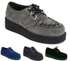 MENS NEW BLACK FAUX SUEDE CREEPERS VINTAGE RETRO BROTHEL PUNK SHOES SIZE