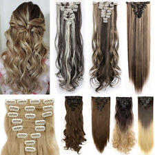 100% Natural Clip in Hair Extensions 8 Piece Full Head Long New as Human Hair AP