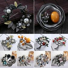 Retro Vintage Silver Agate Pearl Flower Plant Leaf Brooch Pin Women Jewelry Gift