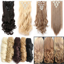 Full Head 8Pcs 18Clips Clip In Hair Extensions Long Straight Wavy As Human AR1