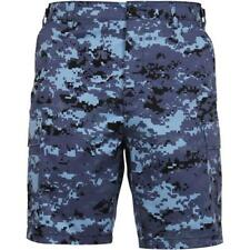 Digital Blue Camouflage - Military Cargo BDU Shorts - Polyester Cotton Twill