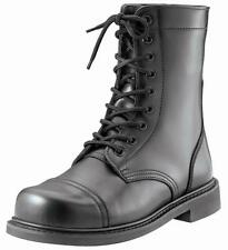 Black - Oil Resistant Military Combat Boots - Leather 9 in.