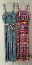 NWT GIRLS LILY ROSE PINK/GREEN BELTED GAUZE MAXI DRESS $48 SIZES 10,12,14,16