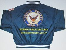 """USS PASSUMPSIC  AO-107  NAVY ANCHOR """" EMBROIDERED 2-SIDED SATIN JACKET"""