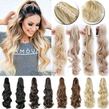 Women Lady Claw On Ponytail Clip In Hair Extensions Gray Blonde Brown As Human