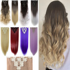 Natural 8 piece full head clip in hair extensions Real quality 18clip clip on us