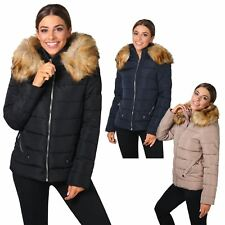 Womens Warm Thick Puffer Jacket Padded Quilted Fur Hood Short Winter Coat 8-16