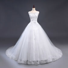 New White/Ivory Tulle Ball Gown Wedding Dresses Bridal Gown Size6+8+10+12+14+16+