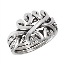 Stunning 925 Sterling Silver 4 Piece Puzzle Ring Band Size 6-10