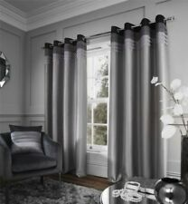 PLEATED FAUX SILK BLACK SILVER CHARCOAL FULLY LINED ANNEAU TOP CURTAINS 4 SIZES