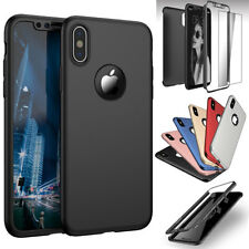 Luxury 360 Hybrid Ultra Thin Hard Case Cover +Tempered Glass For Apple iPhone X